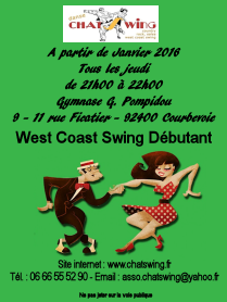 Chatswing, association de danse à Coubevoie propose un nouveau cours débutant de West Coast Swing