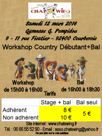 Chatswing, association de danse à Courbevoie propose un atelier et un bal  de Country Line Dance
