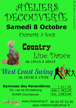 Chatswing, association de danse à Courbevoie propose un atelier de découverte de la country Line dance et du West Coast Swing